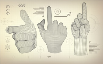Wireframe hand