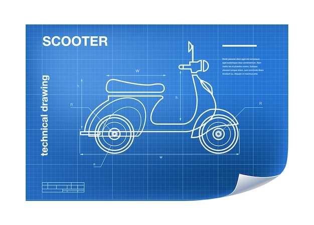 Wireframe illustration with scooter