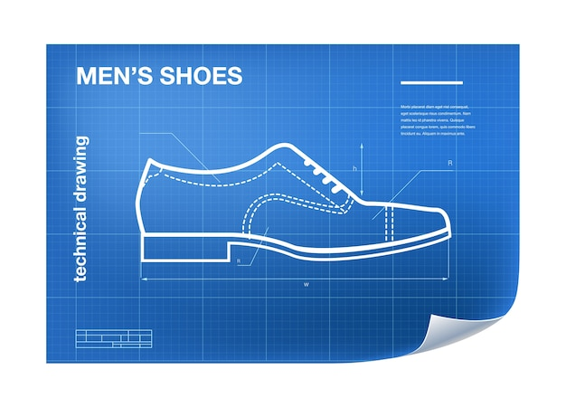 Wireframe illustration with shoe
