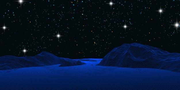 星空の夜空を背景にワイヤーフレーム風景