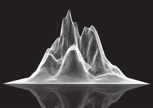 정점 된 산의 와이어 프레임 풍경 무료 벡터