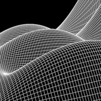 ワイヤーフレームの風景ベクトルの背景。黒のサイバースペースグリッド技術の図
