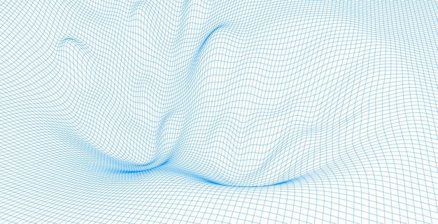 와이어 프레임 풍경 와이어. 와이어 프레임 지형 다각형 조경 디자인. 3d 풍경, 네트워크 연결 배경