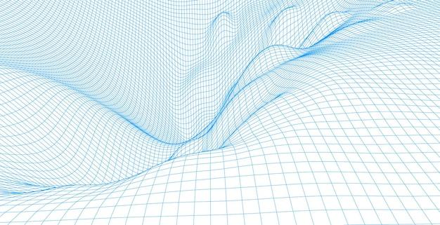 ワイヤーフレームランドスケープワイヤー。ワイヤーフレーム地形ポリゴンランドスケープデザイン。 3dランドスケープ、ネットワーク接続の背景