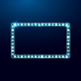 와이어프레임 라이트 빌보드, 로우 폴리 스타일. 진한 파란색 배경에 추상 현대 3d 벡터 일러스트 레이 션.