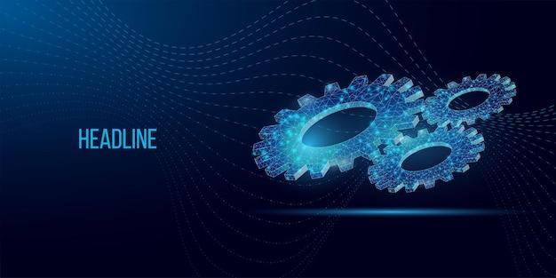 Каркасный низкополигональный состав зубчатого колеса. абстрактные векторные шестерни. современные 3d векторные иллюстрации на синем фоне.