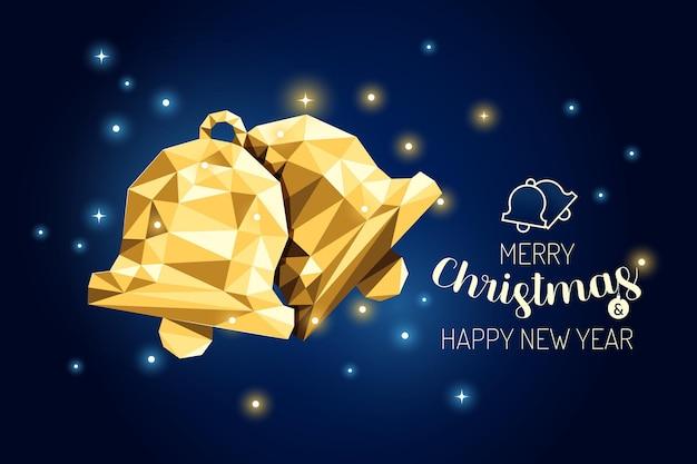 Каркас с рождеством христовым колокол роскошная золотая геометрия концепции design.vector иллюстрации.