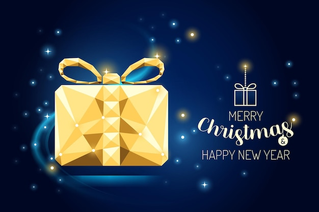 Wireframe merry christmas gift box luxury gold geometry concept design.vector illustration.