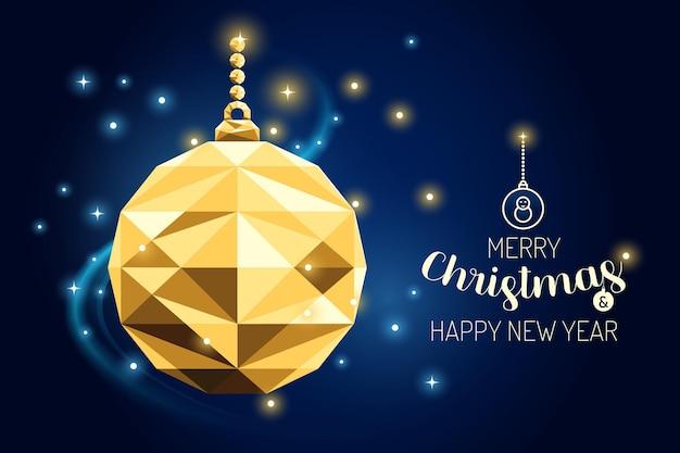 Каркас счастливого рождества орнамент мяч роскошная золотая геометрия концепции дизайна. векторная иллюстрация.