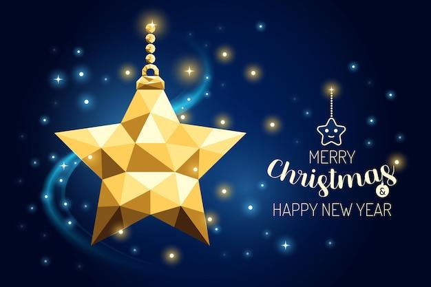 Каркас счастливого рождества орнамент звезды роскошной золотой геометрии концепции дизайна. векторная иллюстрация.