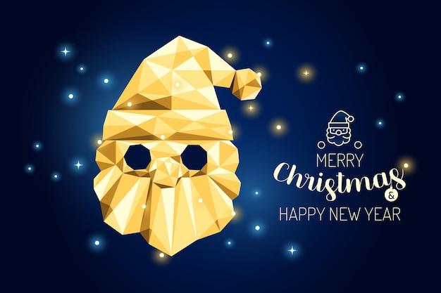Каркас счастливого рождества санта роскошная золотая геометрия концепции дизайна. векторная иллюстрация.