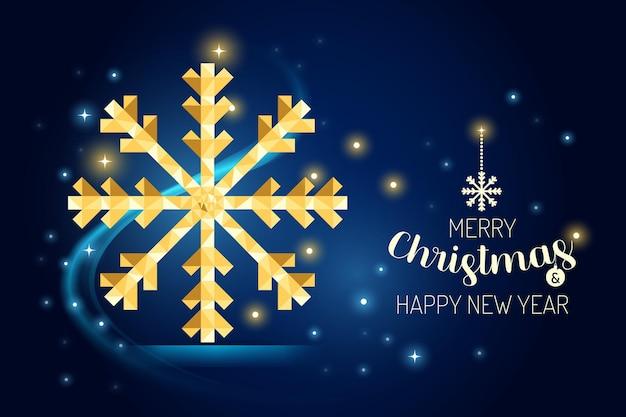 Каркас счастливого рождества снежинка роскошная золотая геометрия концепции дизайна. векторная иллюстрация.