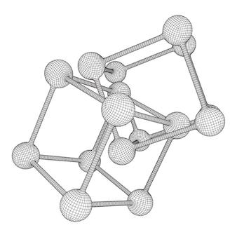 와이어 프레임 메쉬 분자 그리드 연결 구조 낮은 폴리 벡터 일러스트 레이 션 과학 및 의료