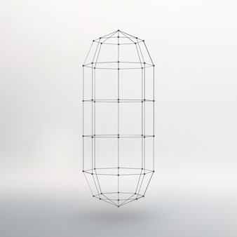 Wireframe mesh polygonal capsule the capsule of the lines connected dots