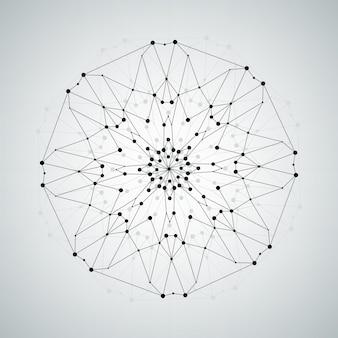ワイヤーフレームメッシュ多角形要素、抽象的な技術イラスト