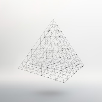 Wireframe mesh polygonal pyramid  atomic lattice driving a constructive solution of the pyramid