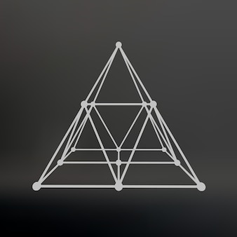 Wireframe mesh polygonal pyramid pyramid of the lines connected points atomic lattice