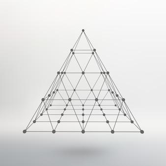 ワイヤーフレームメッシュ多角形ピラミッド点を結ぶ線のピラミッド原子格子