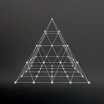Каркасная сетка многоугольная пирамида пирамида из линий, соединенных точками атомная решетка