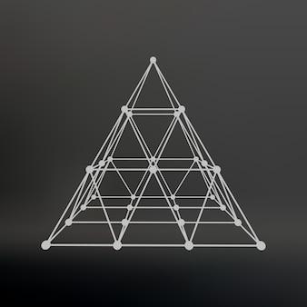 Каркасная сетка многоугольная пирамида пирамида из линий, соединенных точками