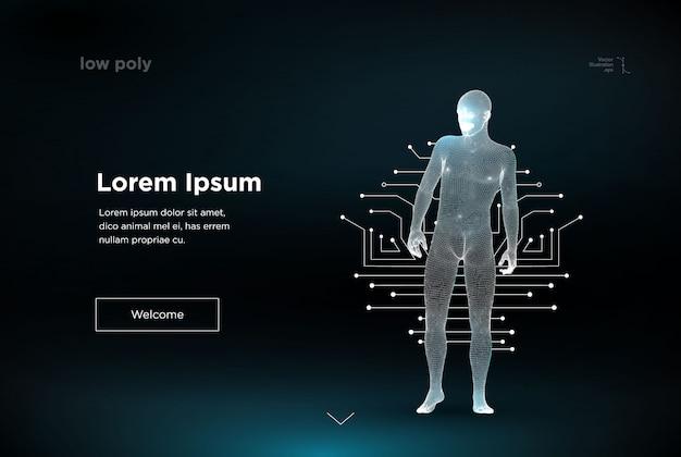 와이어 프레임 다각형 남자. 클라우드 기술, 미래의 연결 된 라인에 도달하는 디지털 남자의 개념. 빅 데이터. 인공 지능.