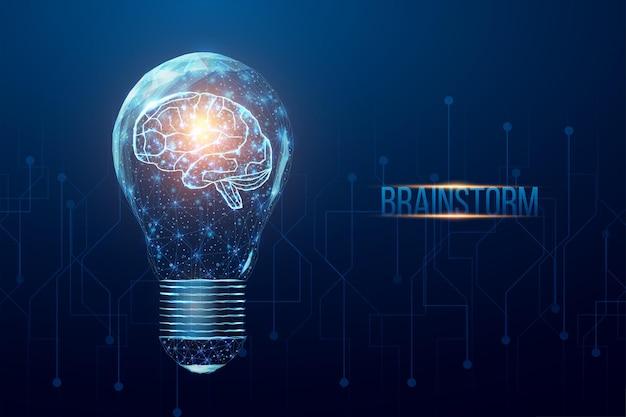 전구에 와이어프레임 다각형 인간 두뇌입니다. 사업 아이디어, 빛나는 낮은 폴리 전구로 개념을 브레인스토밍합니다.