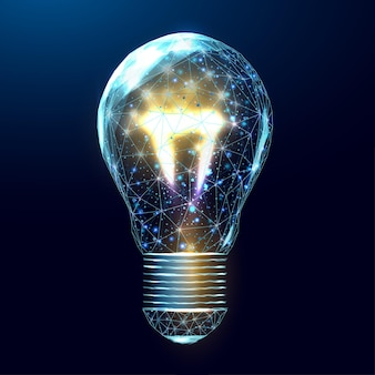 ワイヤーフレームの多角形の電球。インターネット技術ネットワーク、光る低ポリバルブを備えたビジネスアイデアのコンセプト。未来的な現代の抽象。紺色の背景に分離。ベクトルイラスト。