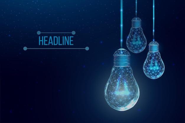 Каркасные многоугольные лампочки. сеть интернет-технологий, концепция бизнес-идеи с светящейся лампочкой с низким поли. футуристический современный абстрактный. изолированные на синем фоне. векторная иллюстрация.