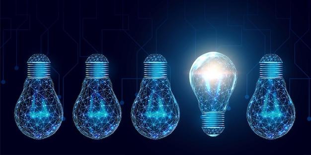 Каркасные многоугольные лампочки. сеть интернет-технологий, концепция бизнес-идеи с светящейся лампочкой с низким поли. векторная иллюстрация.