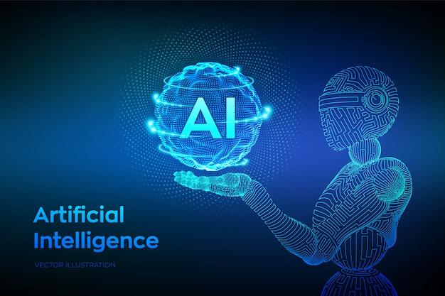 와이어 프레임 로봇. 로봇 손의 인공 지능. 기계 학습 및 사이버 마인드 지배 개념.
