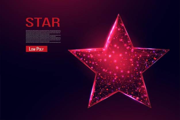 Wireframe star, low poly style. success, win symbol concept. abstract modern 3d vector illustration on dark blue background.