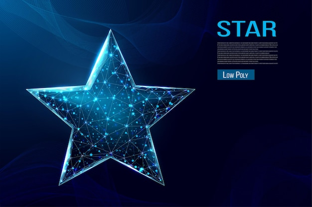 Wireframe star, low poly style.