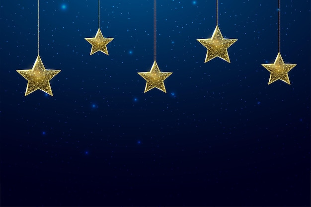 Wireframe stars, low poly style. banner for the concept of christmas or new year with a place for an inscription. abstract modern 3d vector illustration on blue background.