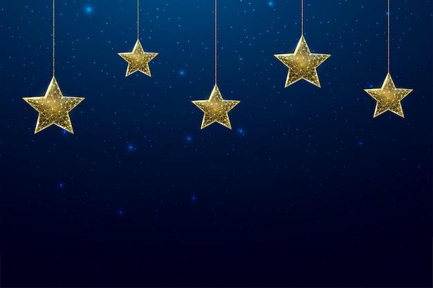 Каркасные звезды, низкий стиль поли. баннер для концепции рождества или нового года с местом для надписи. абстрактные современные 3d векторные иллюстрации на синем фоне.