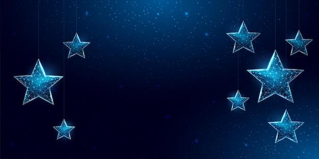 Каркасные звезды, низкий стиль поли. баннер для концепции рождества или нового года с местом для надписи.