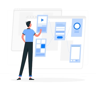 Wireframing concept illustration