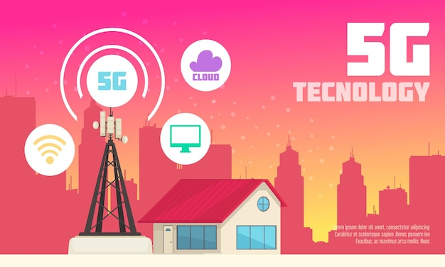 Wireless 5g internet technology flat illustration with web and communication icons in urban environment  illustration