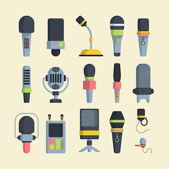 Набор беспроводных и проводных микрофонов плоских векторных иллюстраций