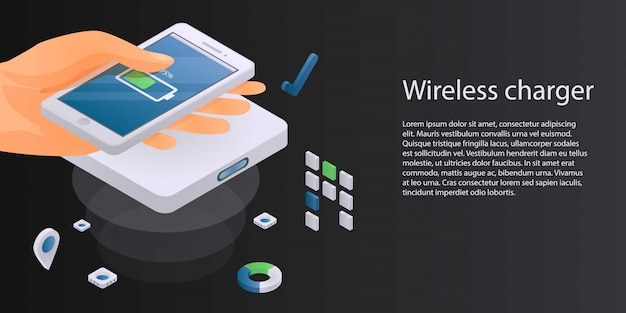 Wireless charger concept banner, isometric style