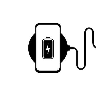무선 충전기 그림입니다. 무선 충전에 스마트폰입니다. 배터리 충전 아이콘입니다. 프리미엄 벡터