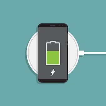 Беспроводная зарядка и плоская иллюстрация смартфона