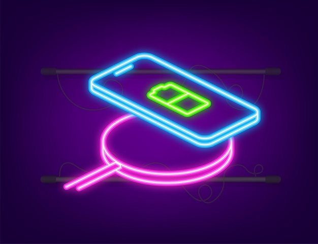 スマートフォンのワイヤレス充電。革新的な現代技術のアクセサリー。ネオンスタイル。ベクトルイラスト等角フラットデザイン。
