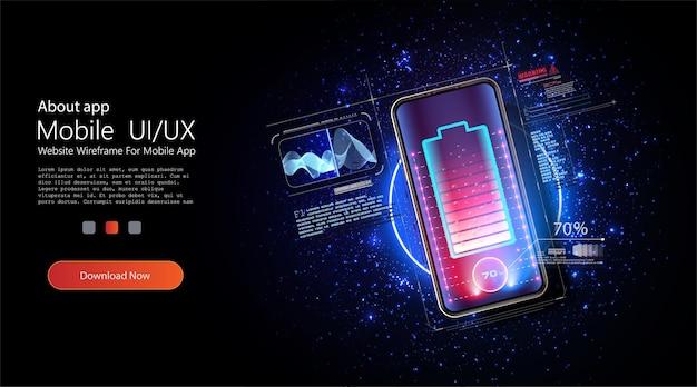 스마트 폰 배터리의 무선 충전. 미래 개념. 파란색 배경의 가제트 및 장치를위한 범용 충전베이스. 많은 스파크를 일으키는 강력한 충전. 배터리 충전 진행