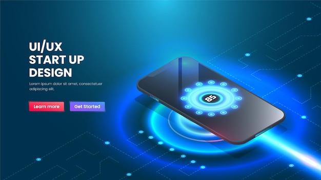스마트폰 아이소메트릭 기술 및 파란색 배경의 무선 충전