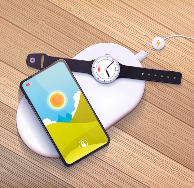 Wireless charging pad with mobile phone and smart watch.   illustration.