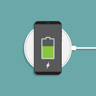 Wireless charging and smartphone flat illustration