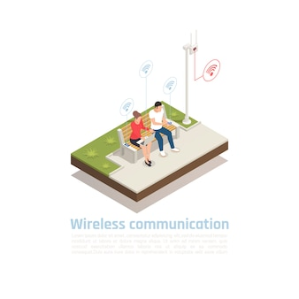 Wireless communication isometric poster with male and female characters sitting in city park cellular antenna and using wifi  signal