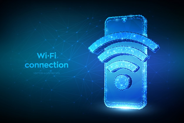 ワイヤレス接続と無料のwifiコンセプト。 wi-fi記号で抽象的な低多角形のスマートフォン。
