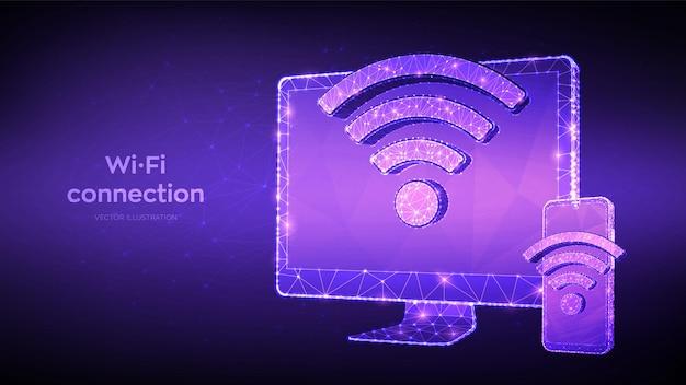 Беспроводное соединение, концепция бесплатного wi-fi. абстрактный низкополигональный компьютерный монитор и смартфон со знаком wi-fi. символ сигнала точки доступа.
