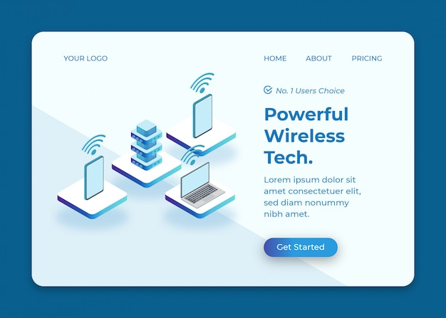 Wireless connection from server to phone and laptop isometric illustration
